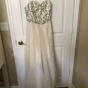 White Prom Dress Wedding Gown Strapless Sparkle